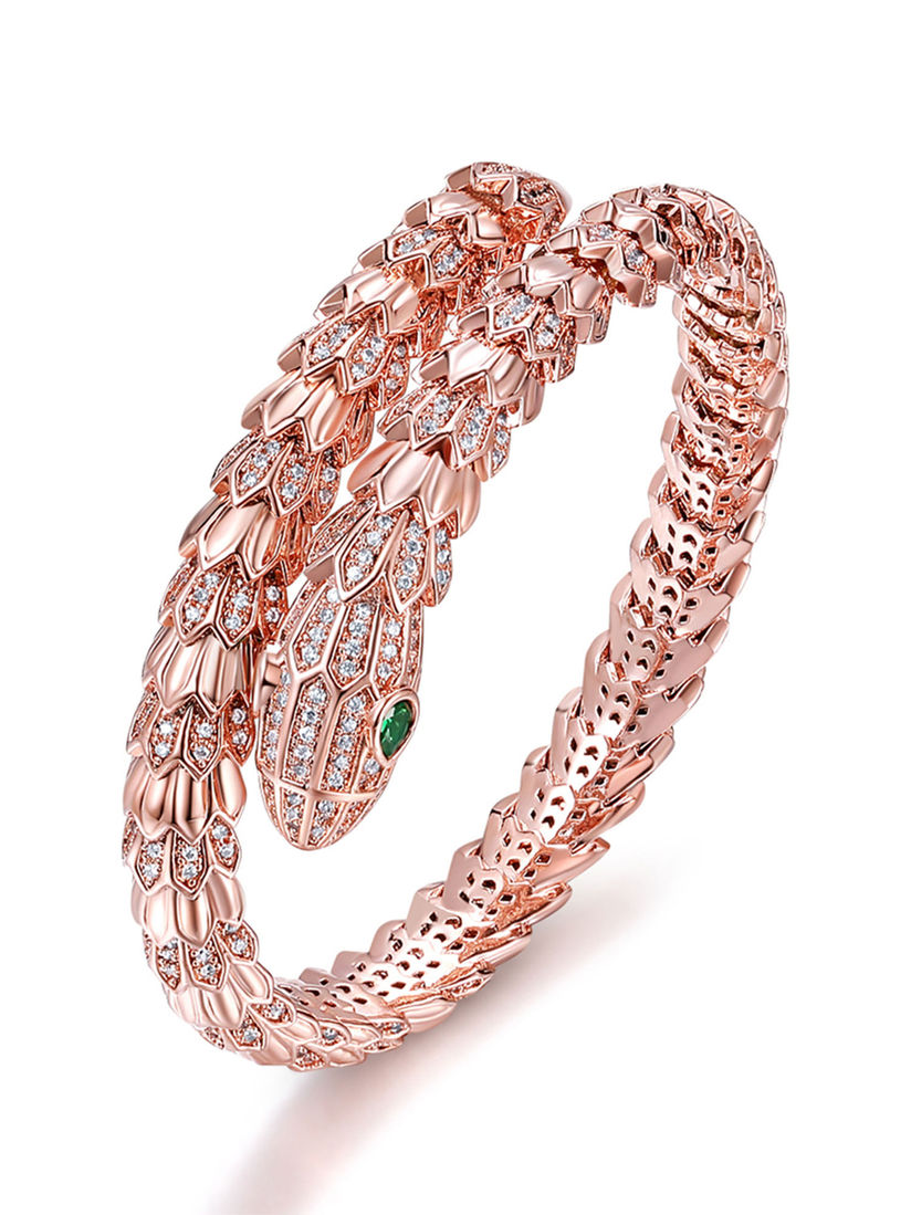 Designs By Jewels Galaxy Bangle Bracelets And Cuffs Rose Gold Plated American Diamond Handcrafted Cuff Bracelet Online