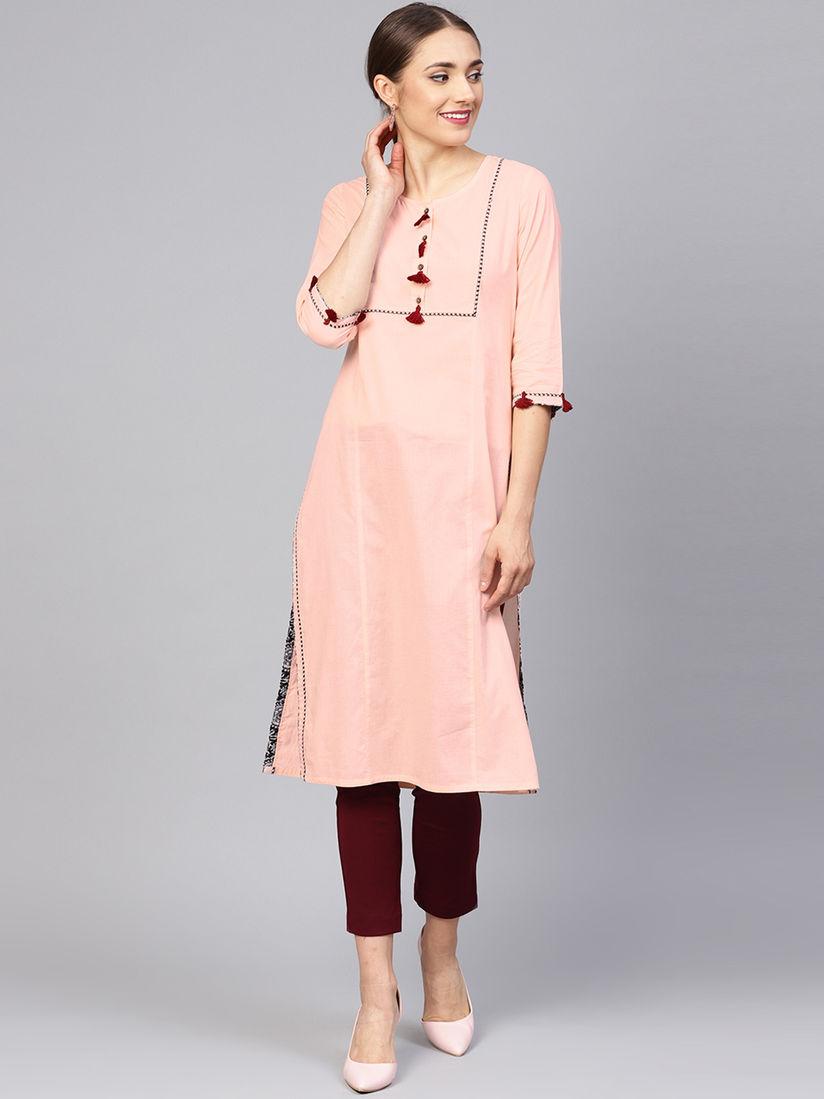 Women/'s Kurti 100/% Cotton Blend Straight Kurti Jaipuri Printed Women/'s Cotton Printed Kurta Pink Rounded print