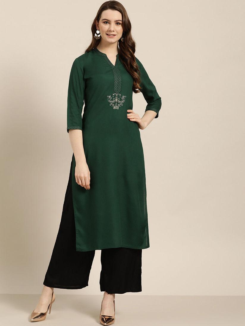 Indian Dress Kurta Women Olive Green Solid Straight Kurta Kurti Dress Kurtis For Women Ethnic Wear Women Top Tunics
