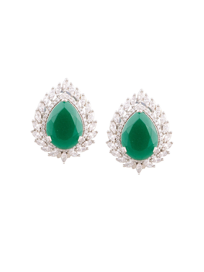 Joolry Earrings Green Stone Diamond Online Nykaa Fashion