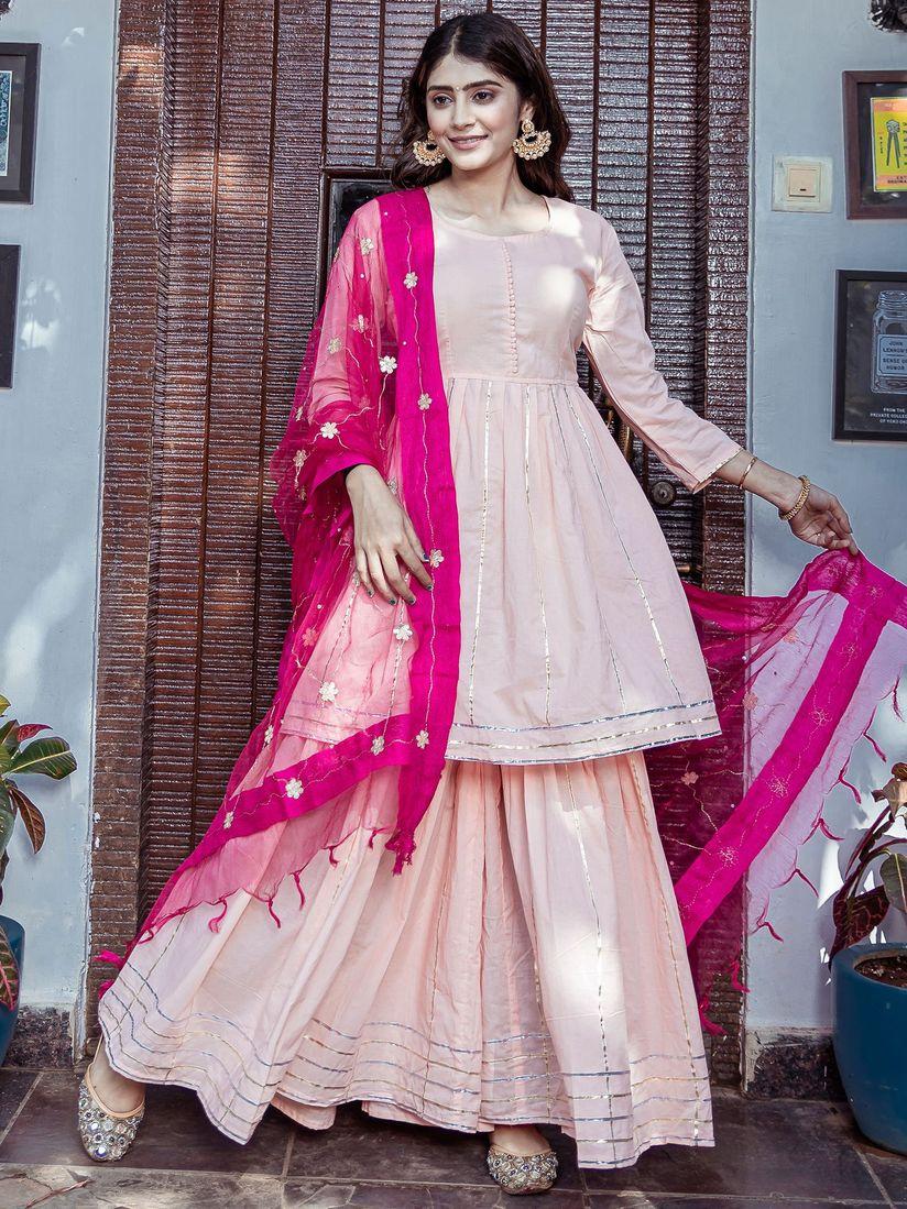 Lavanya The Label Salwar Suits and Sets : Buy Lavanya The Label Peach Kurta  With Sharara & Dupatta (Set of 3) Online   Nykaa Fashion.