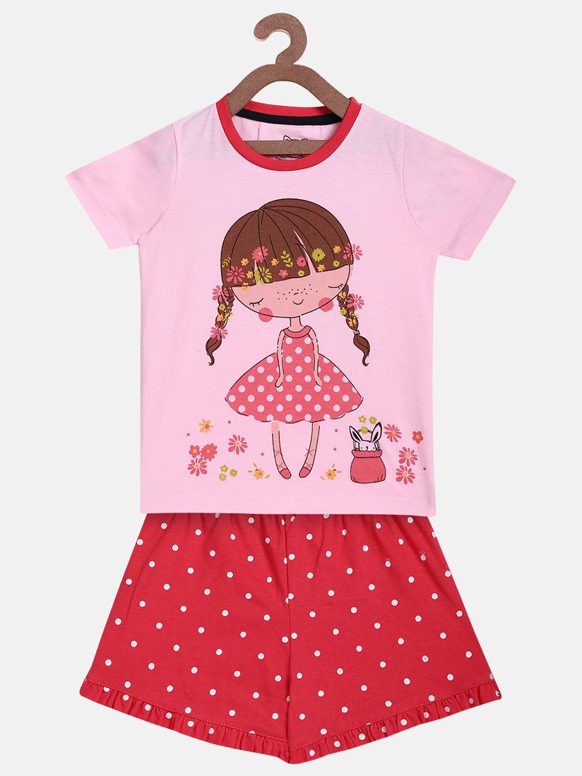 Lazy Shark Kids Short Sets : Buy Lazy Shark Pink Girls T-Shirt With Shorts ( Set of 2) Online|Nykaa Fashion.
