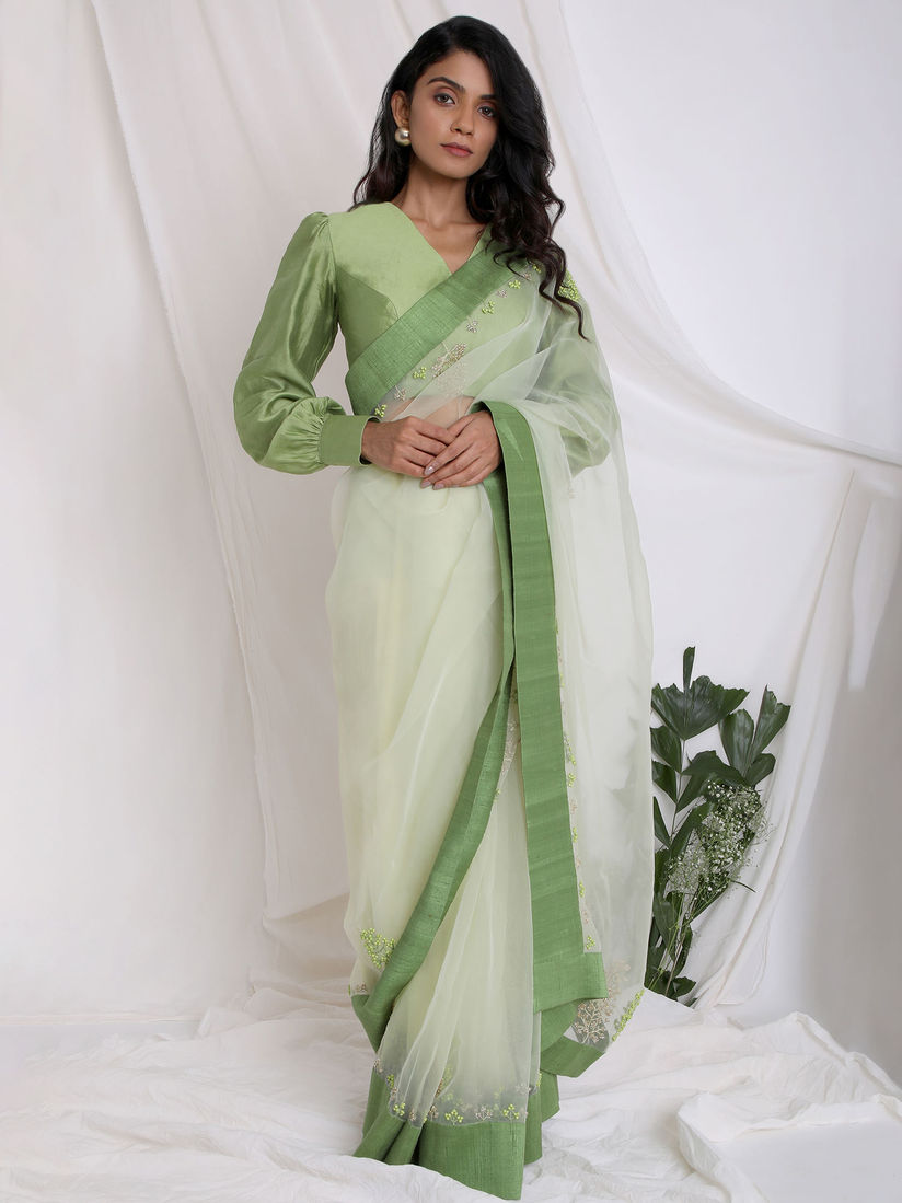 Green organza saree with printed blouse piece