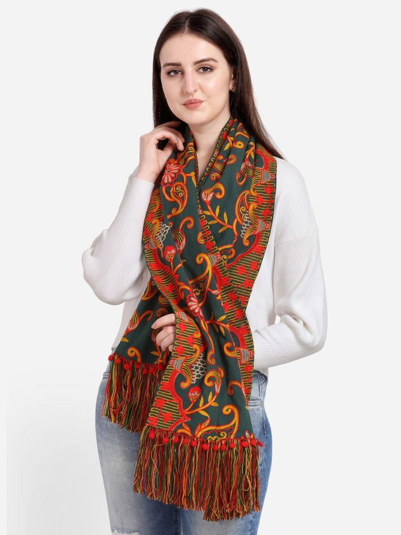 Mesmora Shawls Stoles And Dupattas Buy Mesmora Deep Green Woollen Heavily Embroidered Khadi Muffler Online Nykaa Fashion