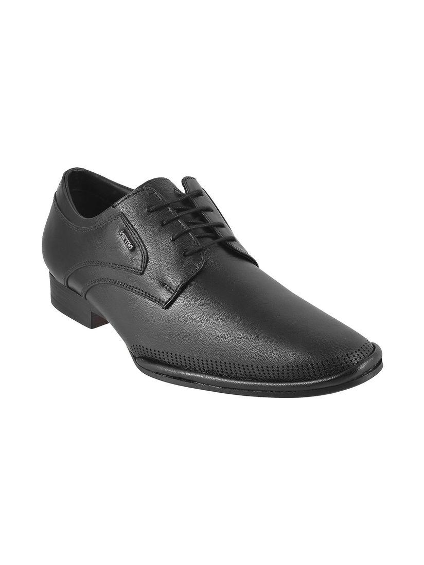 Buy Metro Black Solid Formal Shoes
