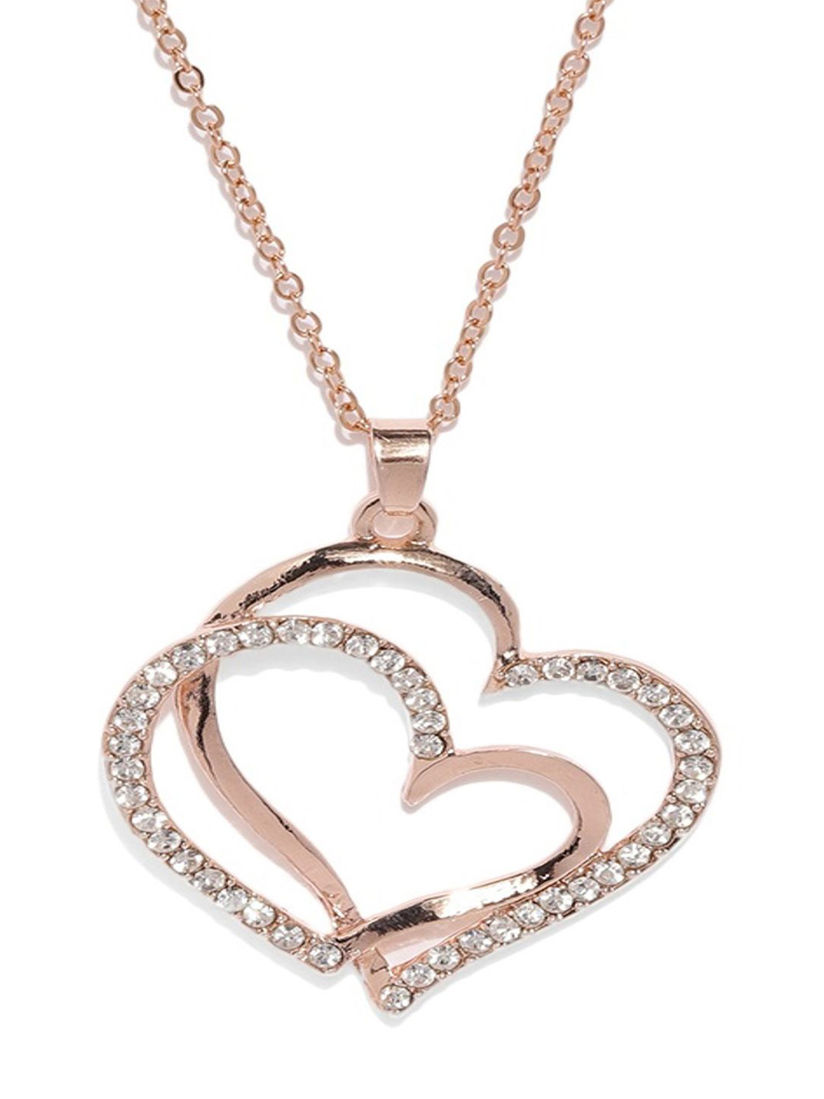 FREE SHIPPING Moon and Heart Style Rose Plated Silver Necklace