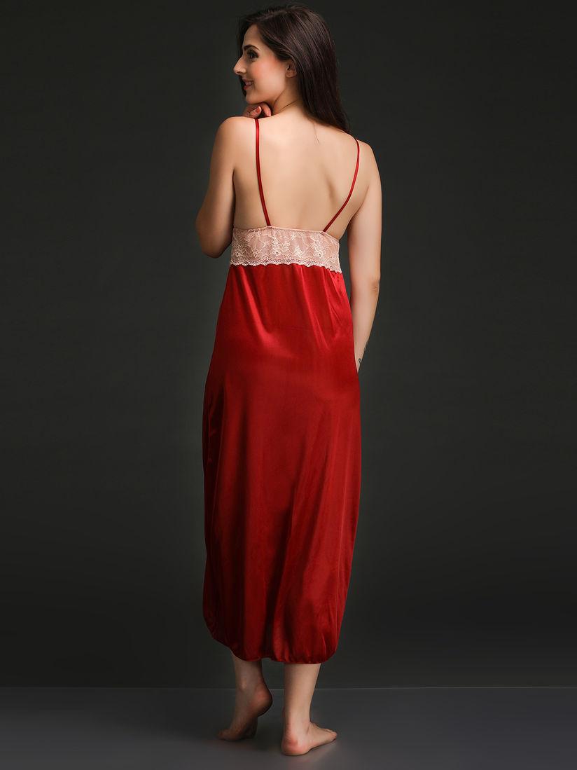 Indian Stripes Print Nighty Women Fashion Nightwear Free Size Nighty Black Color
