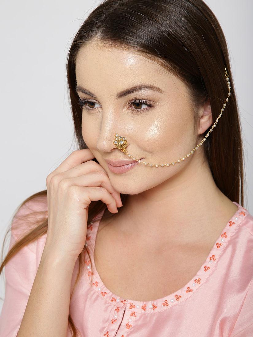 Priyaasi Nose Rings And Nath Buy Priyaasi Gold Plated Kundan