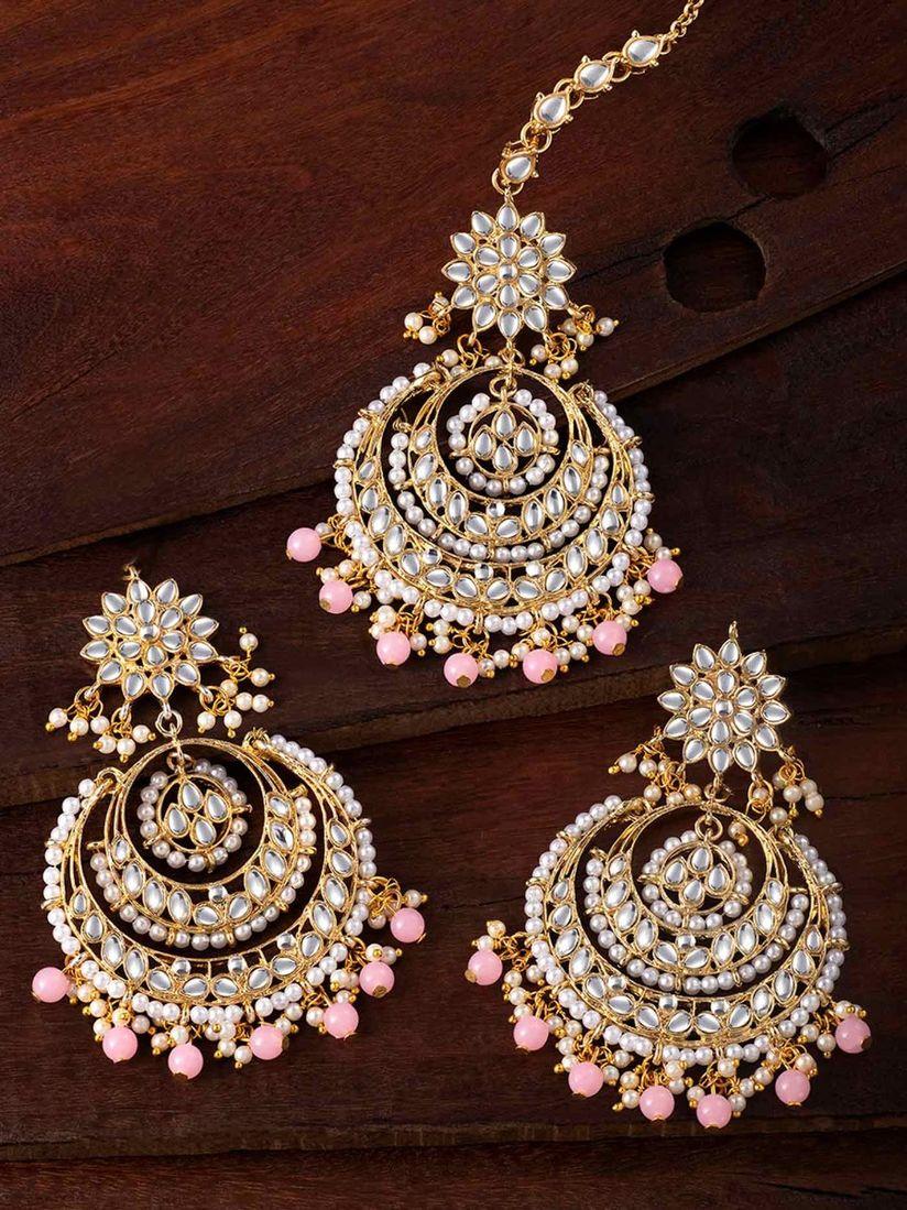 Golden Earrings and Maang Tikka Set