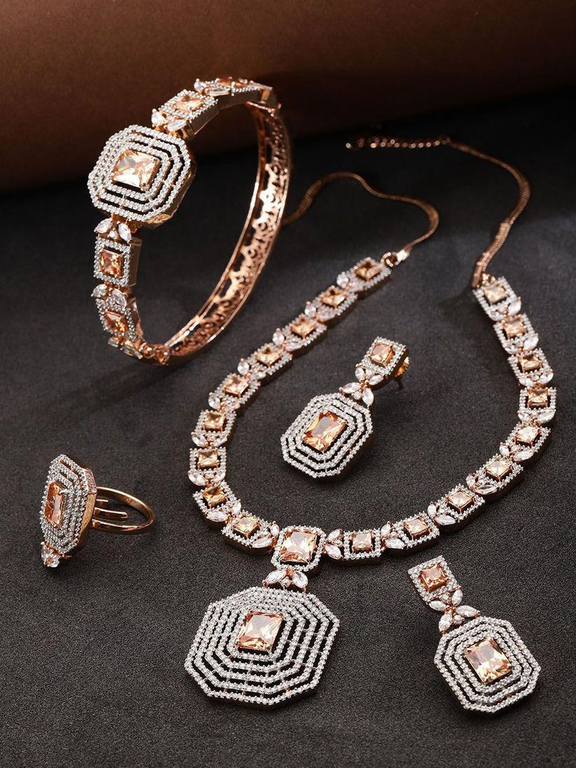 Priyaasi Jewellery Sets Buy Priyaasi Rose Gold Plated Ad Studded Jewellery Set Online Nykaa Fashion