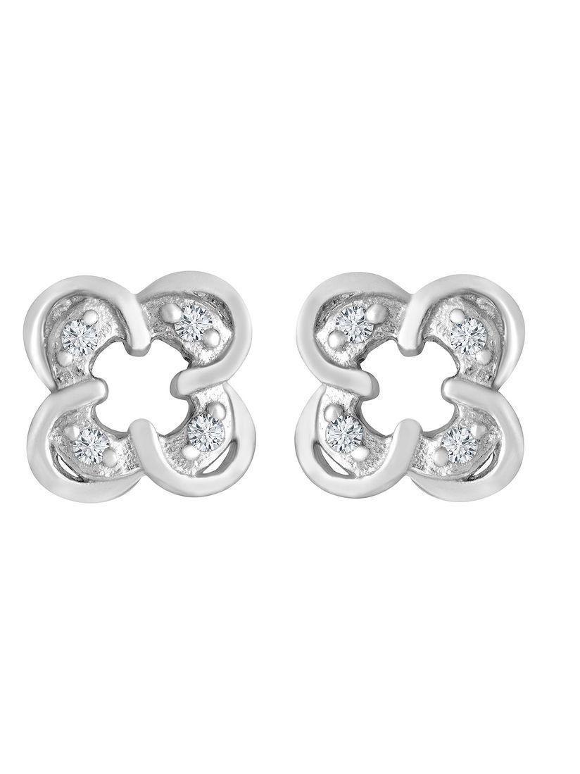 925 Silver Ornate Cubic Zirconia Earrings Item w# 1490