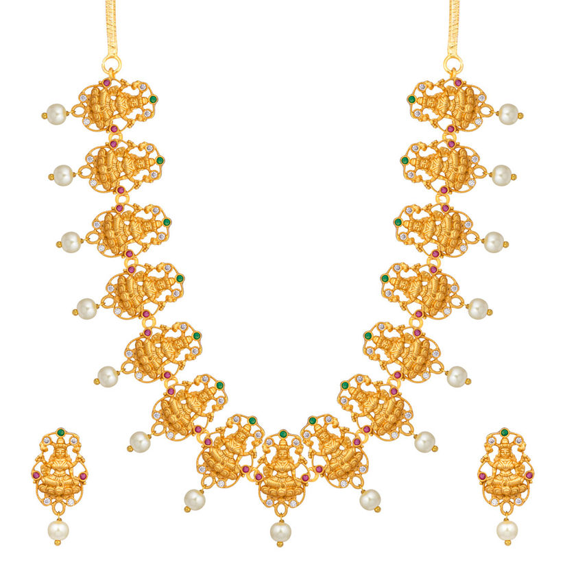 Peora Necklaces and Chokers Buy: Peora Goddess Laxmi Designer Indian Temple Jewellery  Necklace Earring Set For Women Online | Nykaa Fashion