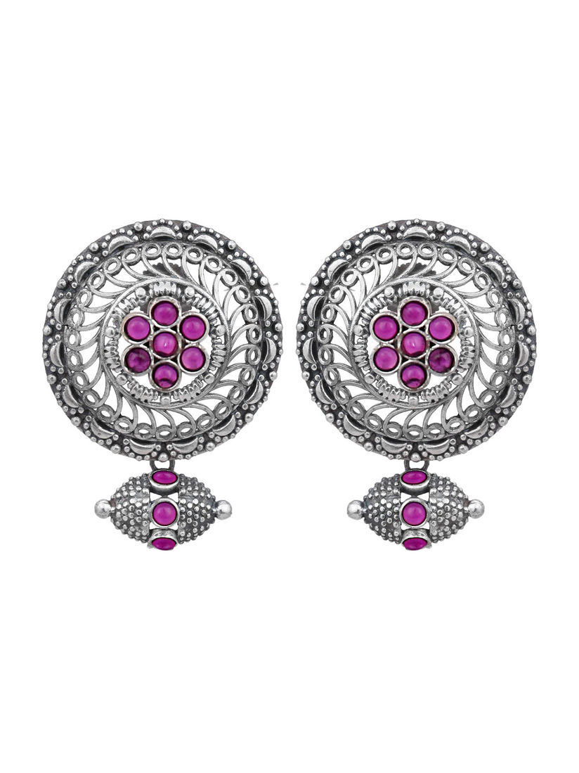 Pink Flowers Necklace Set Women Earrings Gold Plated Crystal Centers NEW