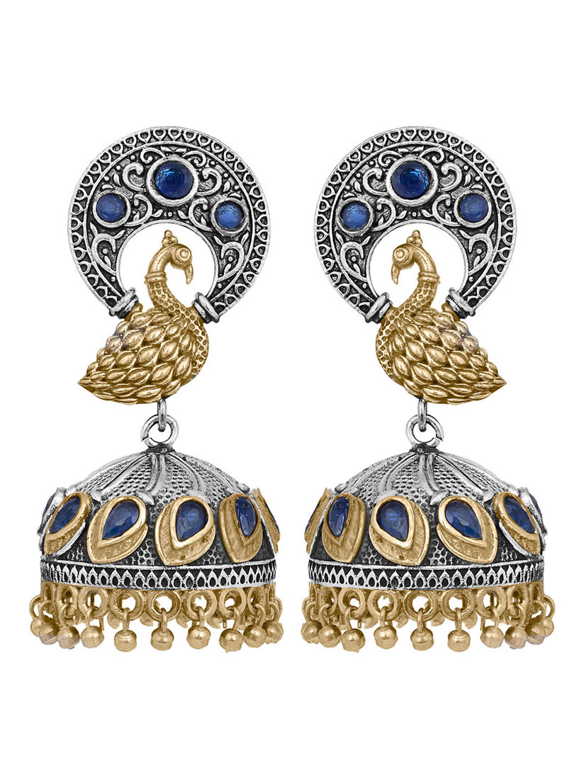 Long Earrings in Antique Silver Plated with Leaf and Detailed Indian Designs and Dangling Metal Pieces