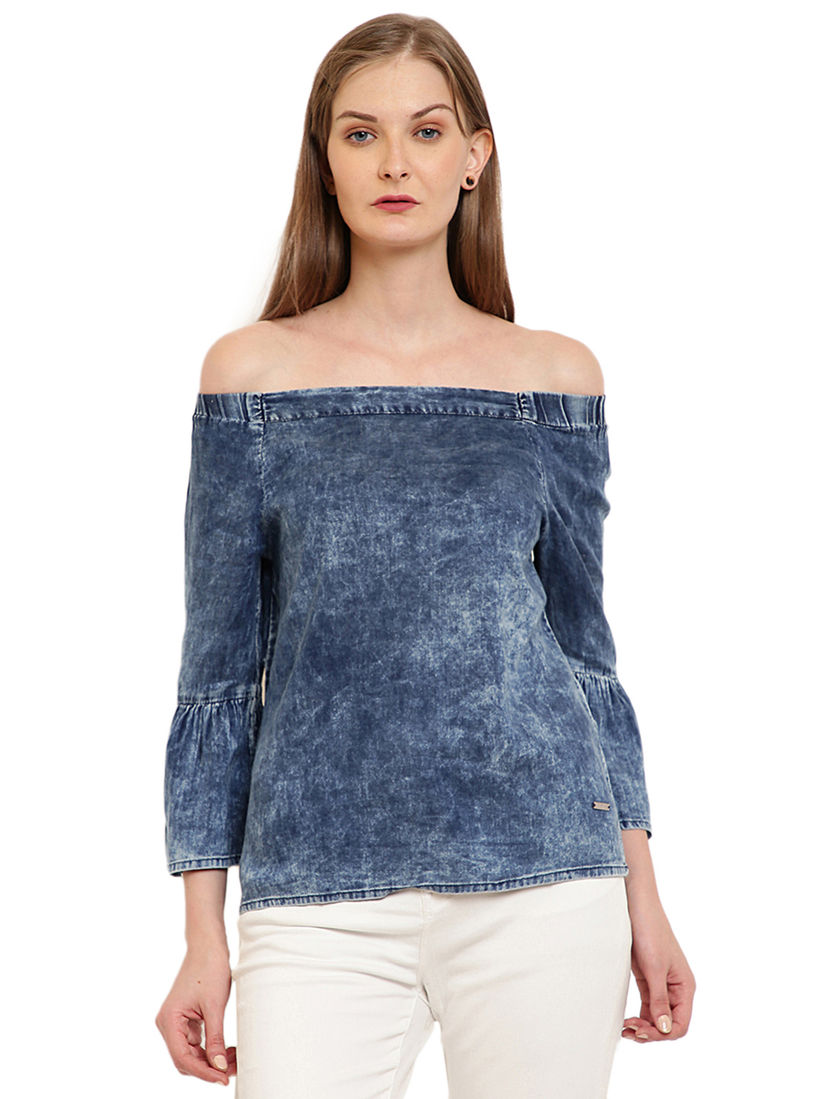 Pepe Jeans Tops Buy Pepe Jeans Blue Solid Top Online Nykaa Fashion