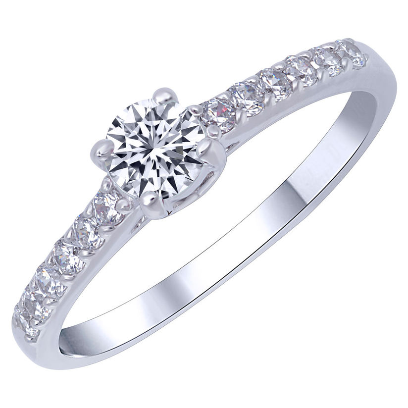 Ladies Sterling Silver Rhodium Plated White Gold Solitaire Ring Heart CZ Center