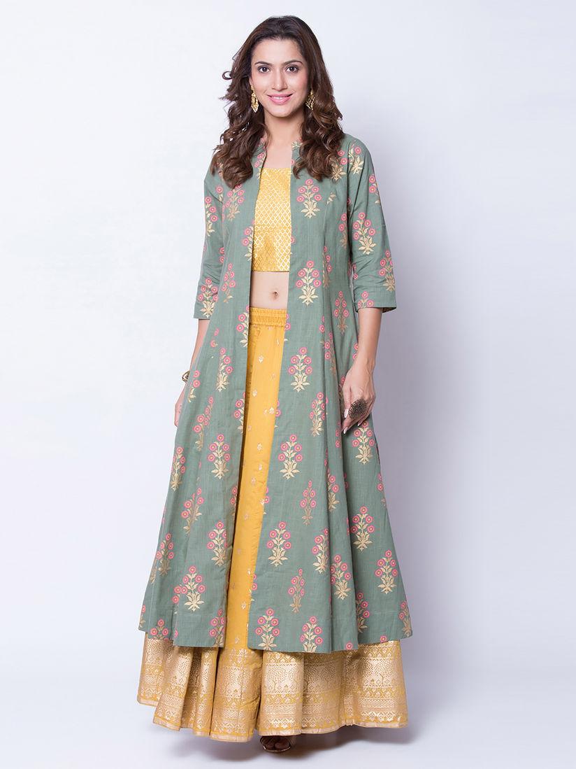 Biba Lehengas Buy Biba Teal Floral Crop Top With Lehenga Jacket Set Of 3 Online Nykaa Fashion