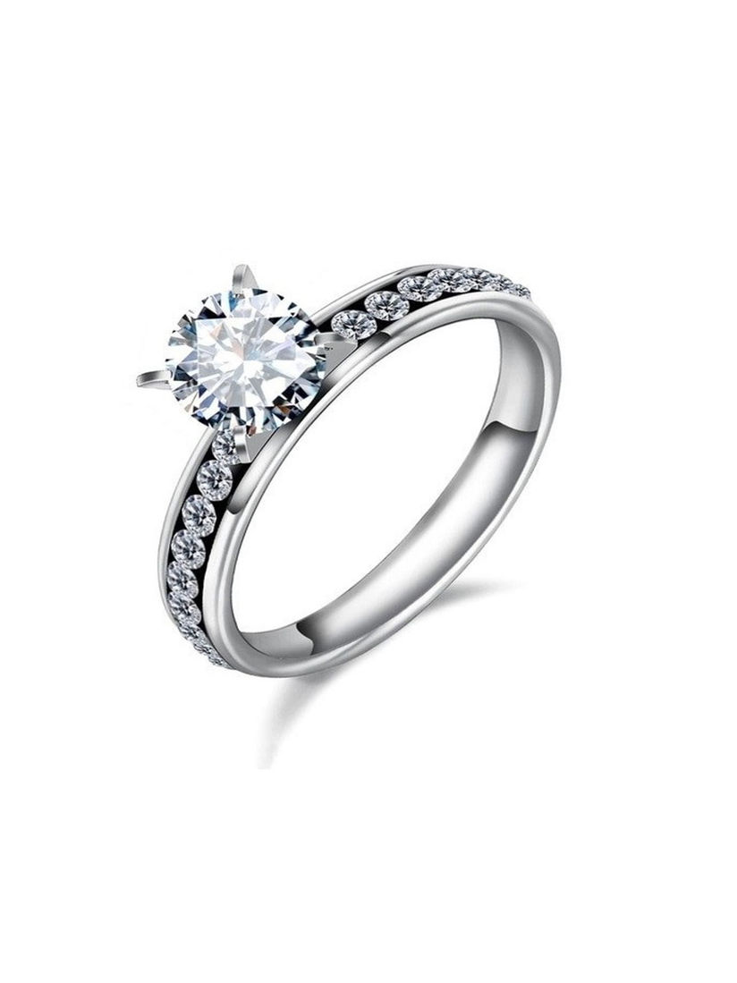 Oomph Rings Buy Oomph Silver Plated Solitaire Cubic Zirconia Engagement Ring Online Nykaa Fashion