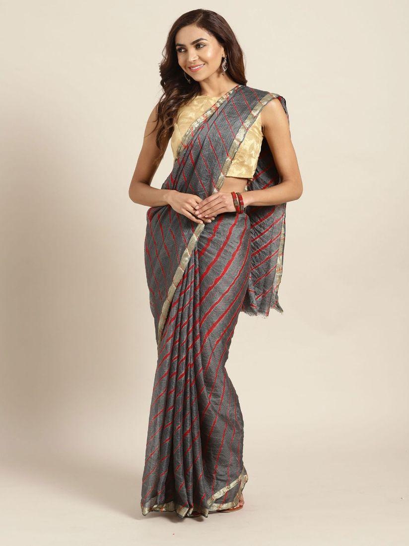 Geroo Jaipur Saree Buy Geroo Jaipur Grey Leheriya Saree With Blouse Piece Online Nykaa Fashion