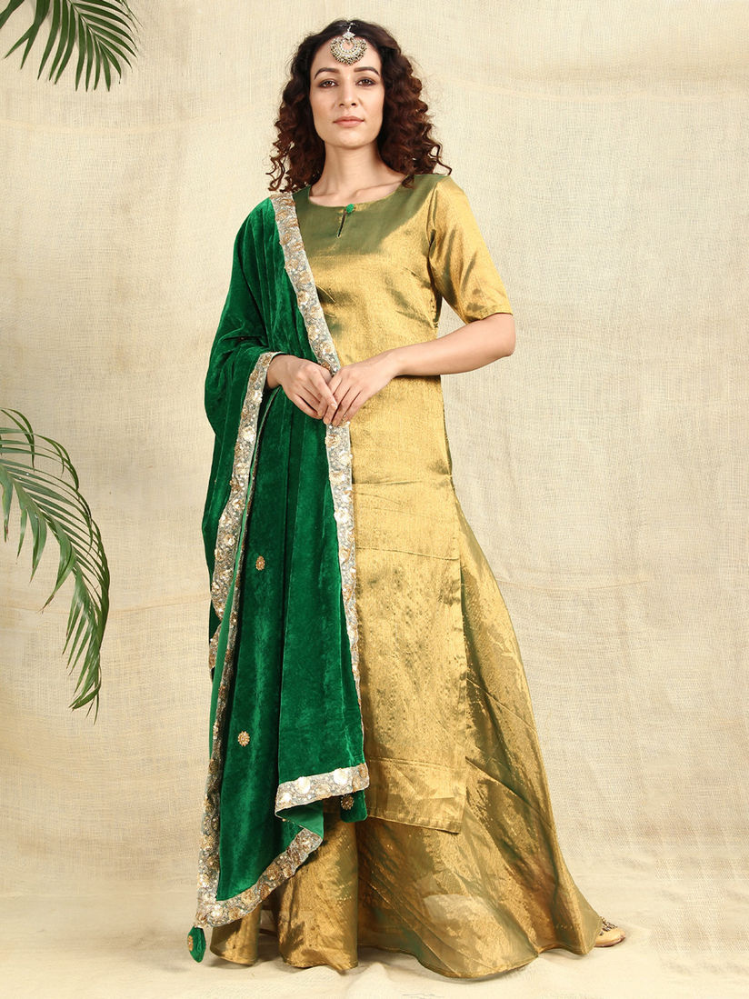 Shades Salwar Suits And Sets Buy Shades Golden Kurti And Skirt Paired With Velvet Green Dupatta Set Of 3 Online Nykaa Fashion