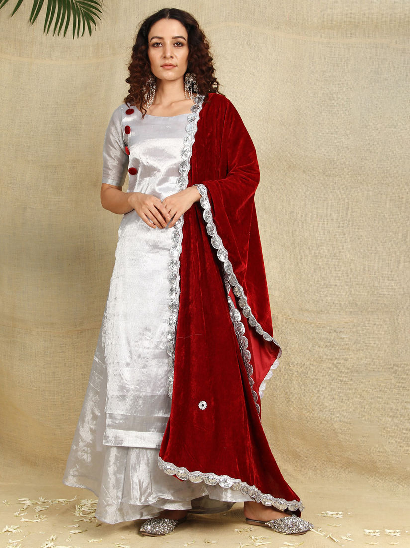 Shades Salwar Suits And Sets Buy Shades Silver Cotton Tissue Kurti And Flared Palazzo Paired With Red Velvet Dupatta Set Of 3 Online Nykaa Fashion