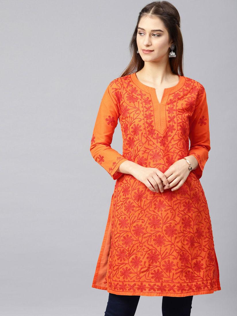 New Women/'s Cotton Lucknowi Chikan orange free and fast shipping Aari Kurti