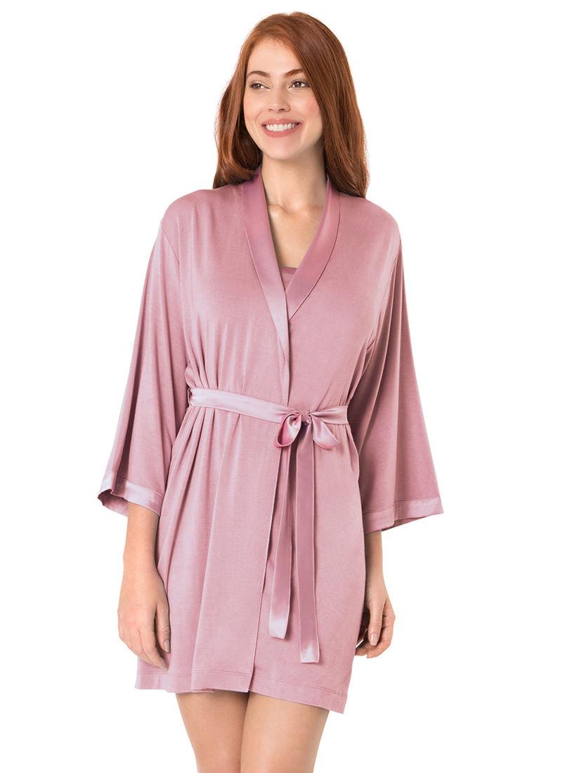 Amante Lingerie Amante Satin Edge Sleep Robe Pink Online Nykaa Fashion