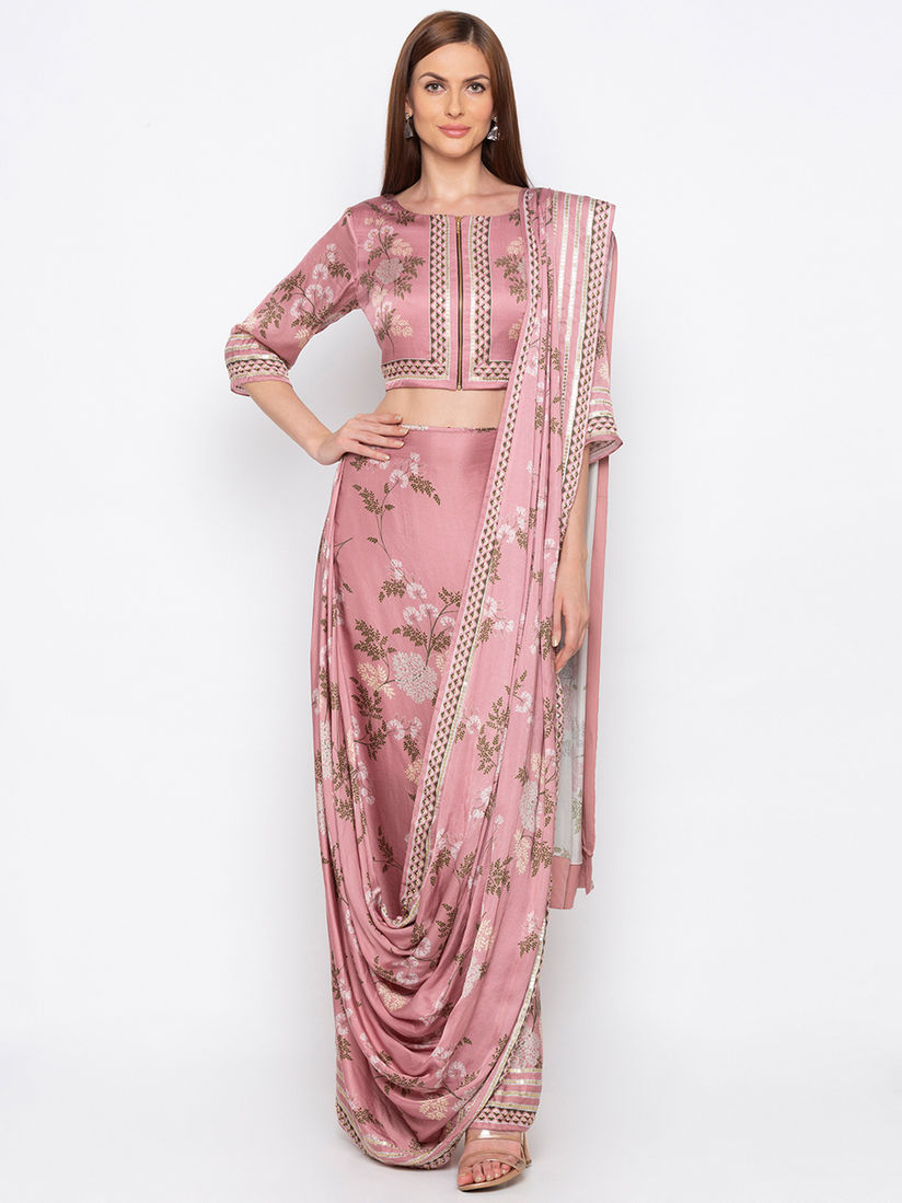 Soup By Sougat Paul Sarees Buy Soup By Sougat Paul Pink Drape Saree With Blouse Online Nykaa Fashion