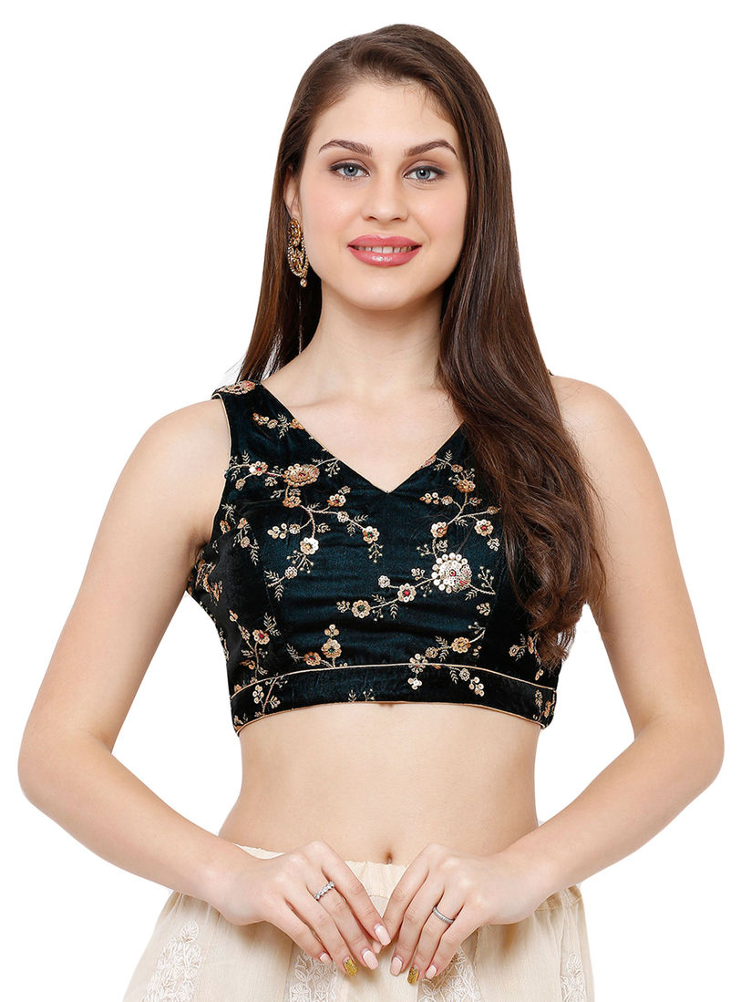 Salwar Studio Blouse Buy Salwar Studio Green Velvet Readymade Saree Blouse Online Nykaa Fashion