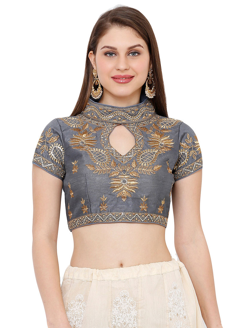 Free Shipping Ready Made Designer Blouse Grey Color Blouse Floral Embroidered Sequin Fabric Blouse Sari Choli Crop Top Party Wear For Women