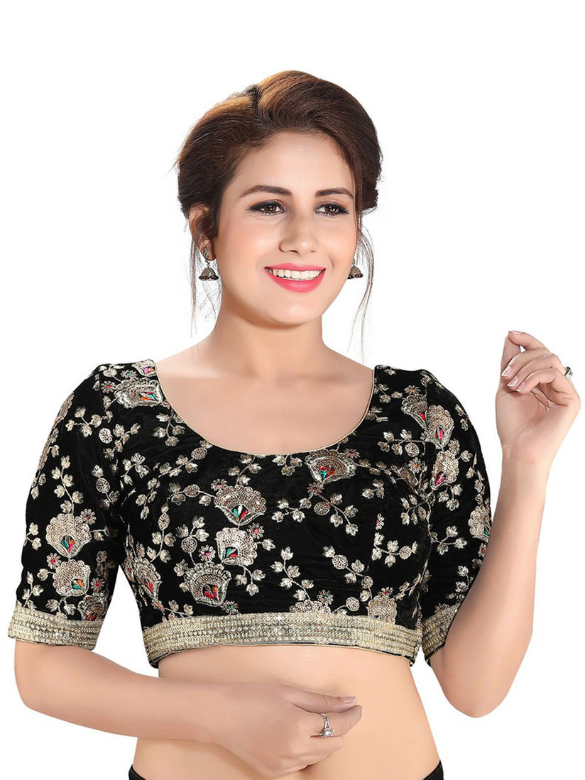 Salwar Studio Blouse Buy Salwar Studio Black Velvet Embroidered Readymade Saree Blouse Online Nykaa Fashion