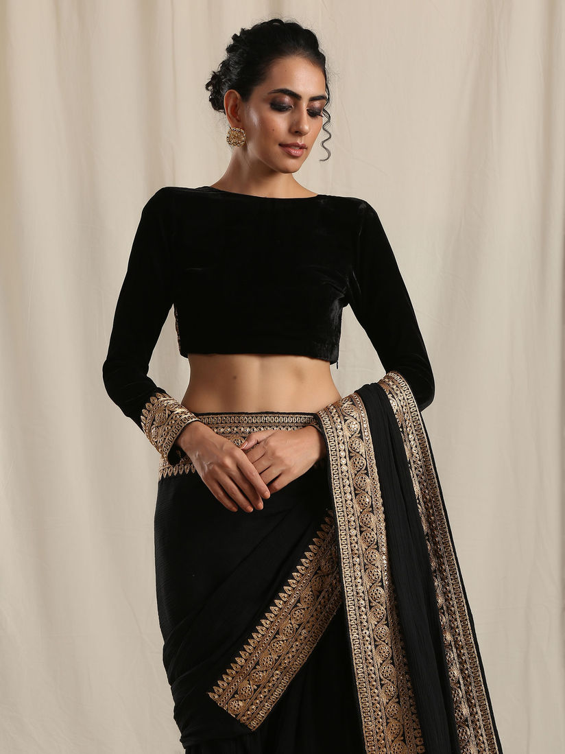 Truebrowns Blouse Buy Truebrowns Black Velvet Embroidered Lace Blouse Stitched Blouse Online Nykaa Fashion