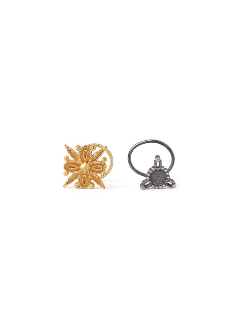 Tjori Nose Rings Buy Tjori Trio Silver And Flower Shaped Gold