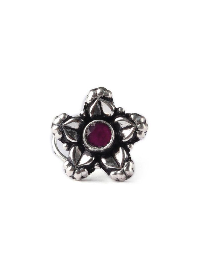 Tjori Nose Rings Buy Tjori Flower Shaped Violet Stone Sterling