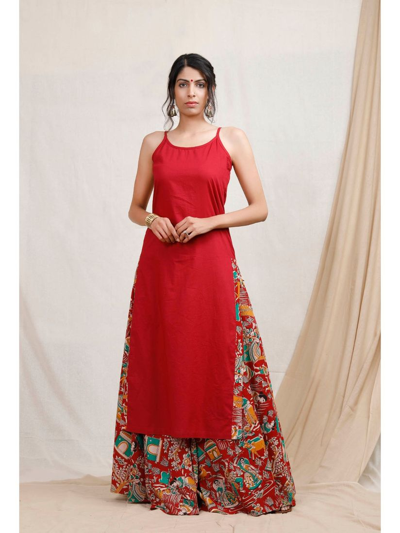 Tjori Salwar Suits and Sets : Buy Tjori Red Cotton Kurta And Kalamkari  Skirt (Set Of 2) Online | Nykaa Fashion.