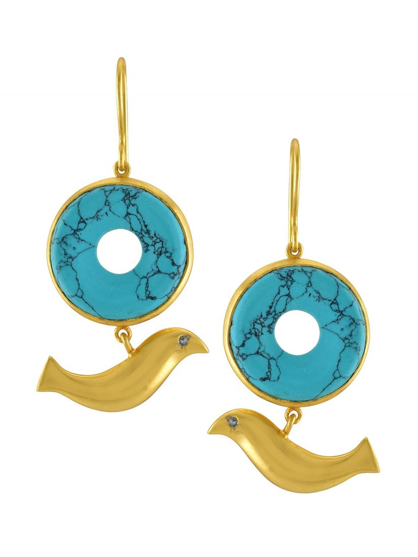Turquoise Delicate Earrings Gold Plated Sterling Silver Circles With Turquoise Pendant Earrings