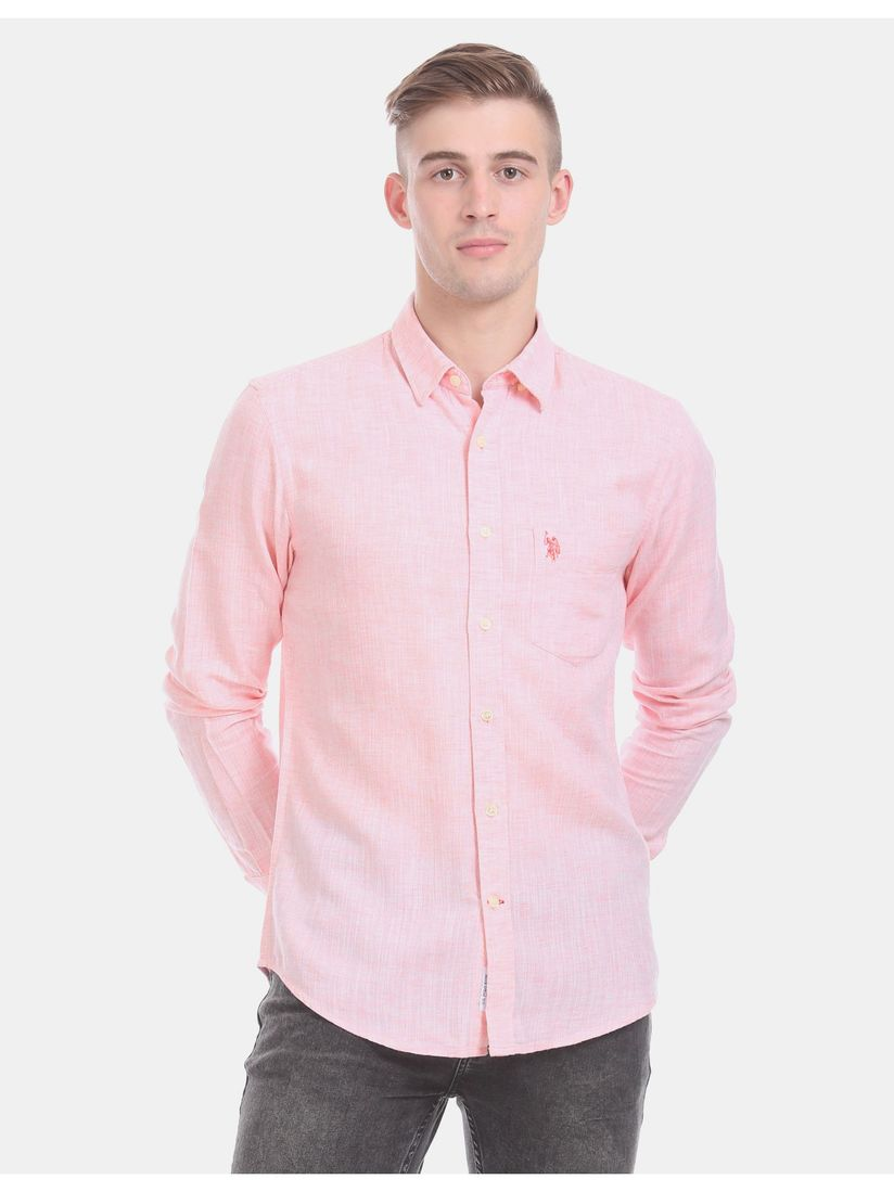 U.S. POLO ASSN. Pink Solid Casual Shirt