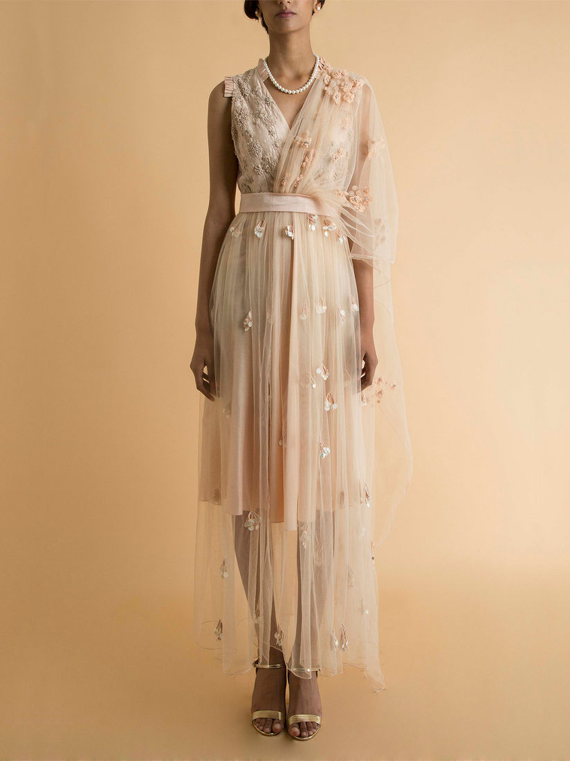 Saksham Neharicka Dresses Buy Saksham Neharicka Beige Embroidered Sheer Dress With Drape Online Nykaa Fashion