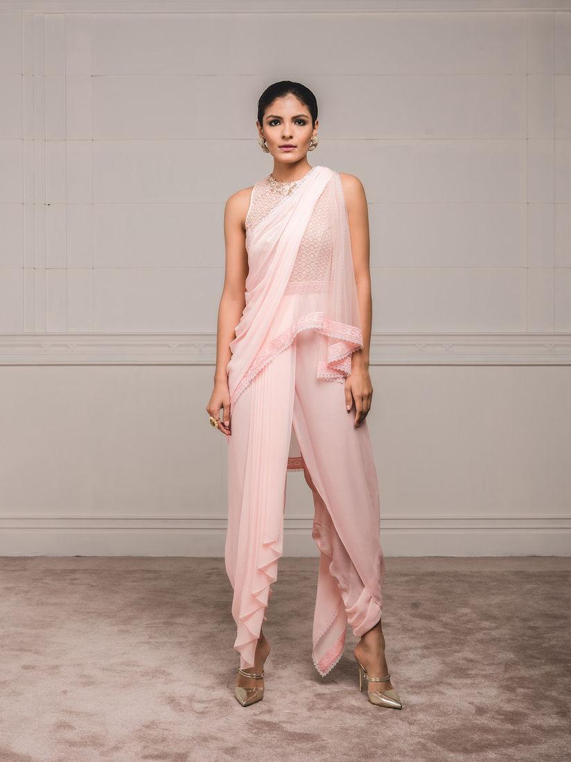 Tarun Tahiliani Sarees Buy Tarun Tahiliani Pink Draped Dhoti Saree With Stitched Blouse Set Of 2 Online Nykaa Fashion