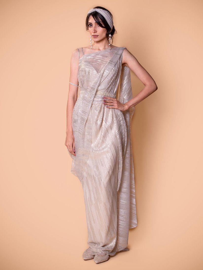 Tarun Tahiliani Sarees Buy Tarun Tahiliani Purple Pre Draped Saree With Belt Stitched Blouse Set Of 3 Online Nykaa Fashion