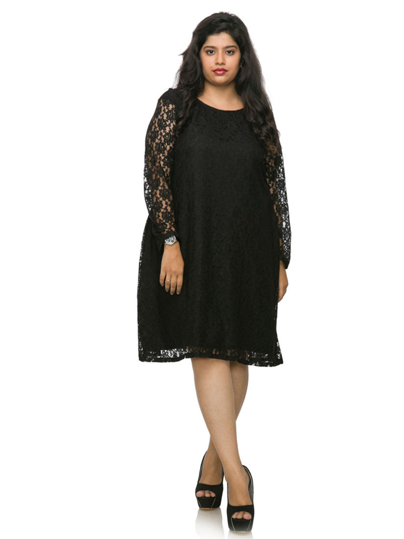 XXLLENT Dresses : Buy XXLLENT Plus Size Black Lace Dress Online | Nykaa  Fashion.