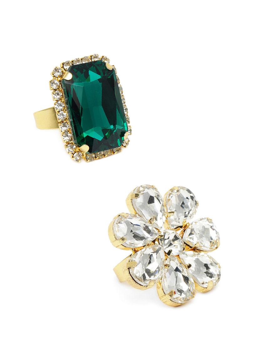 Zaveri Pearls Combo of 15 Crystal Shine Stones Studded Party Bling  Adjustable Finger Rings ZPFK1015157
