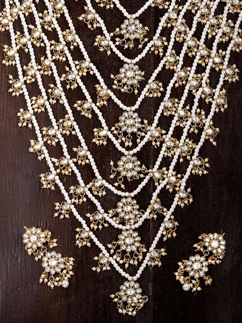 Zaveri Pearls Gold Tone Floral Kundan & Pearls Multi Layer Long Bridal  Necklace Set