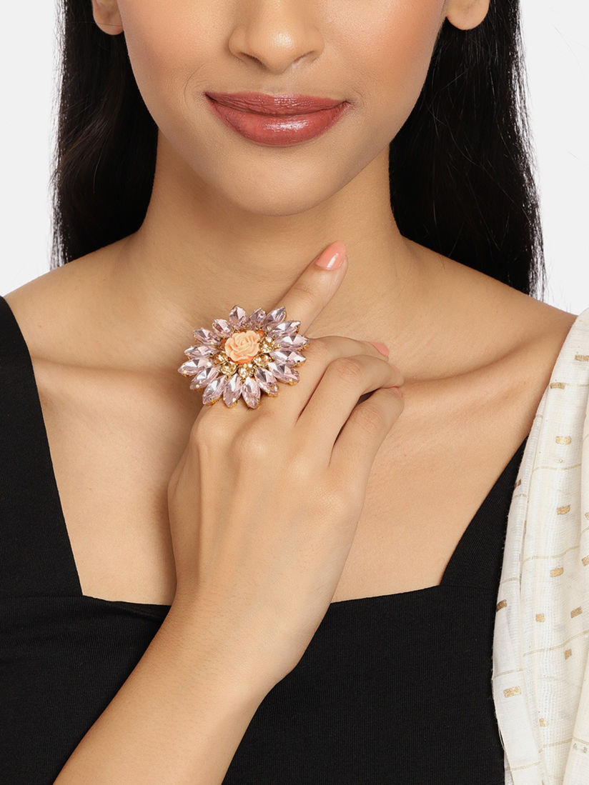 Zaveri Pearls Pink Crystal Shine Stones Party Bling Contemporary Adjustable  Finger Ring
