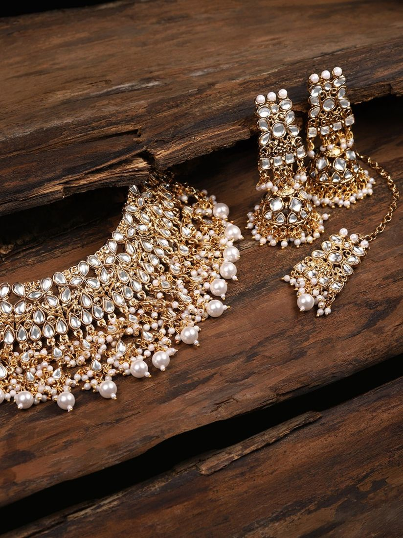 Zaveri Pearls Gold Tone Kundan & Pearls Bridal Choker Necklace Set