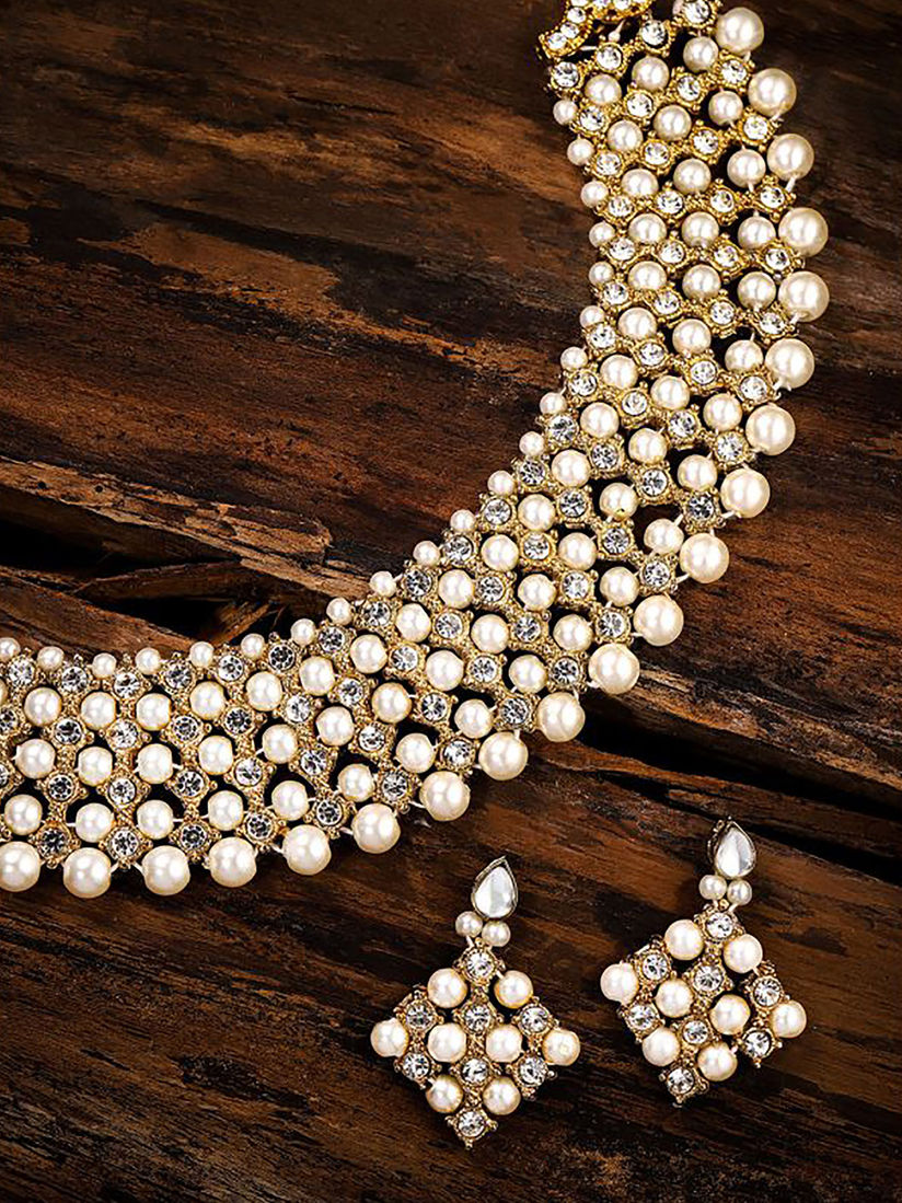 Zaveri Pearls Shimmering Austrian Diamonds & Pearls Choker Necklace Set