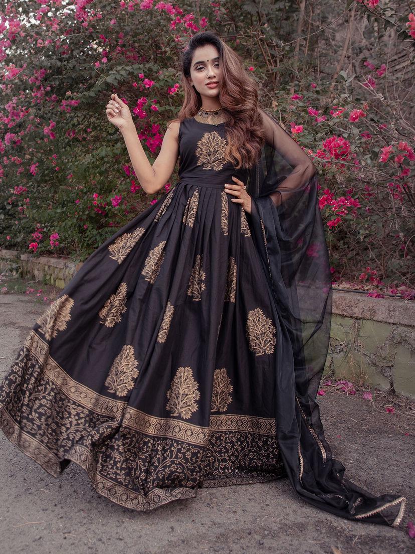 Lavanya The Label Black Printed Maxi Dress With Dupatta