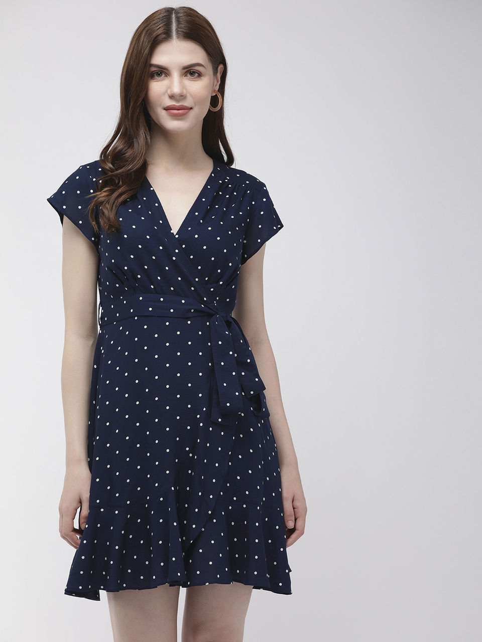 Twenty Dresses by Nykaa Fashion Navy Blue Spotted In Polka Wrap Dress