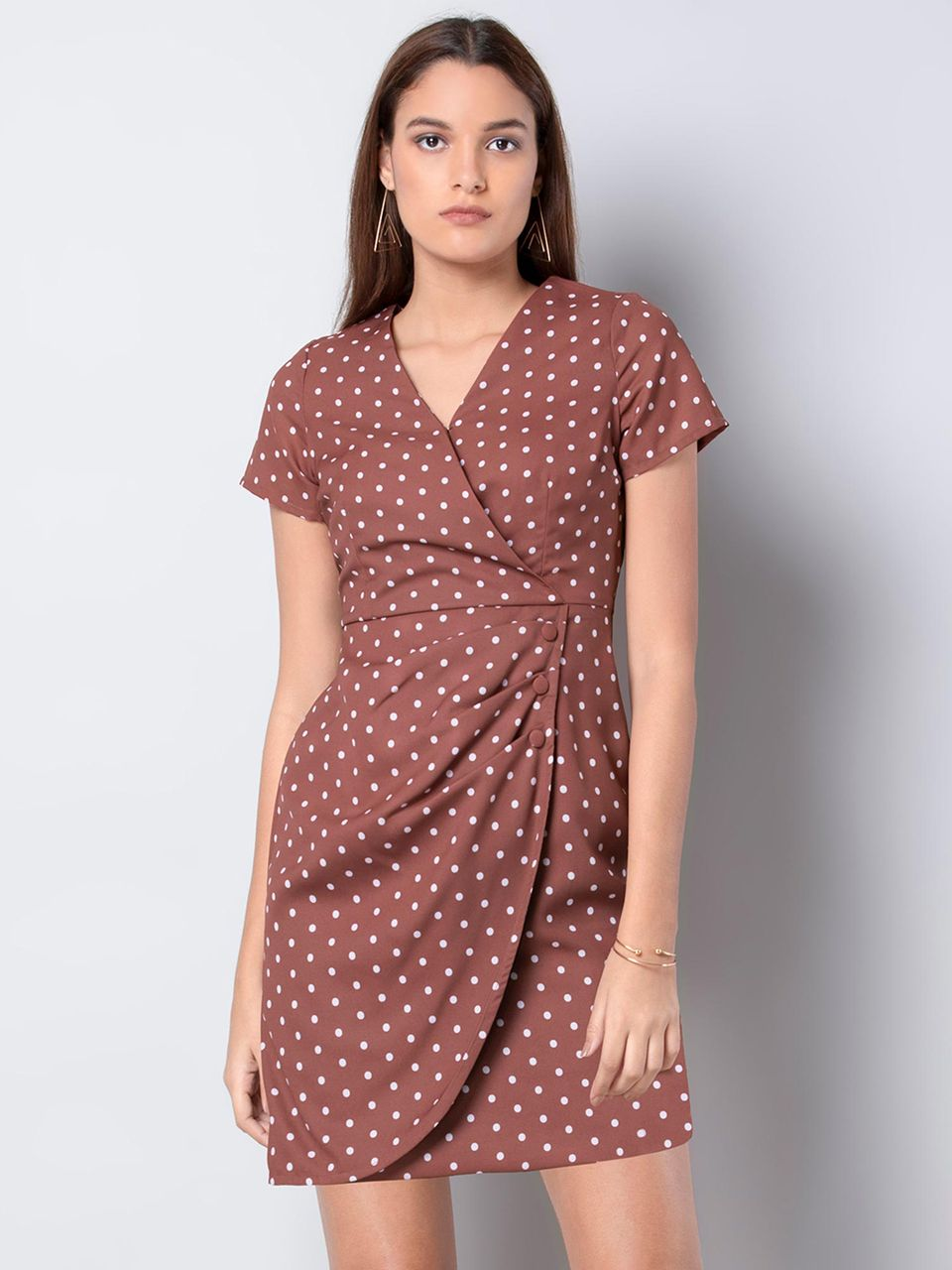Faballey Brown Polka Wrap Dress